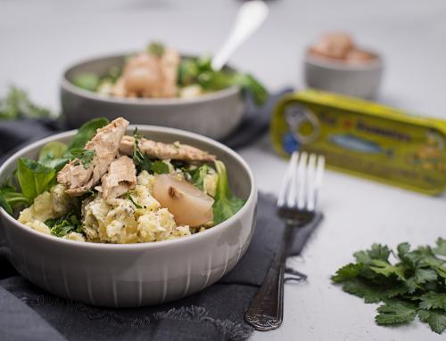 Lauwarmer Kartoffelsalat mit Makrele