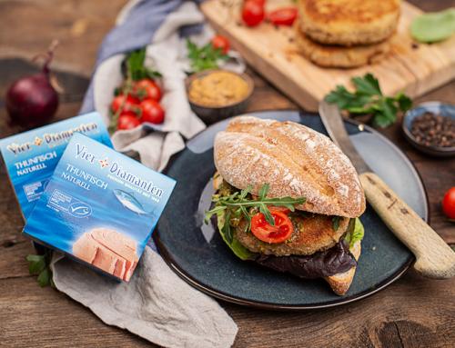 Rustikaler Thunfisch Burger mit Senf & Kräuterpesto
